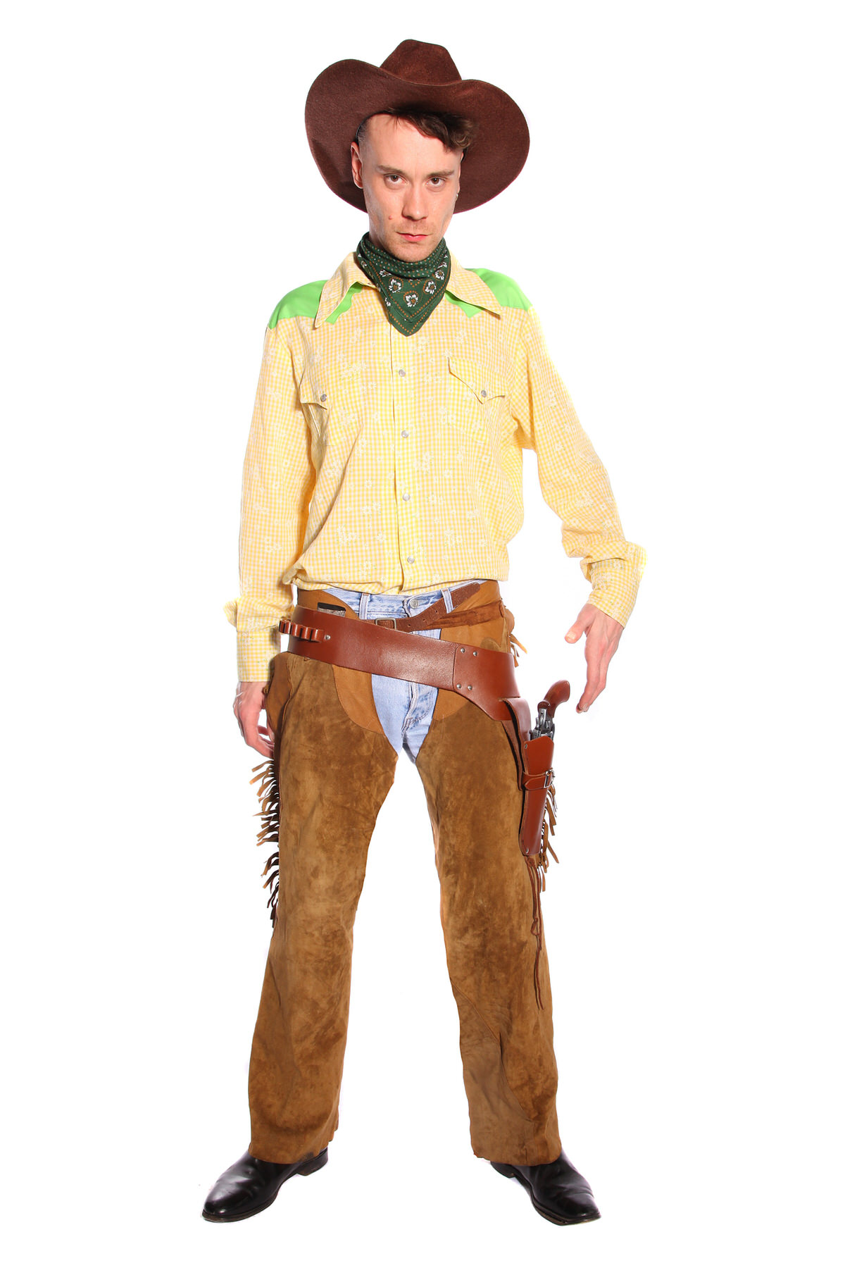 COWBOY YELLOW AND BROWN COSTUME W SUEDE CHAPS
