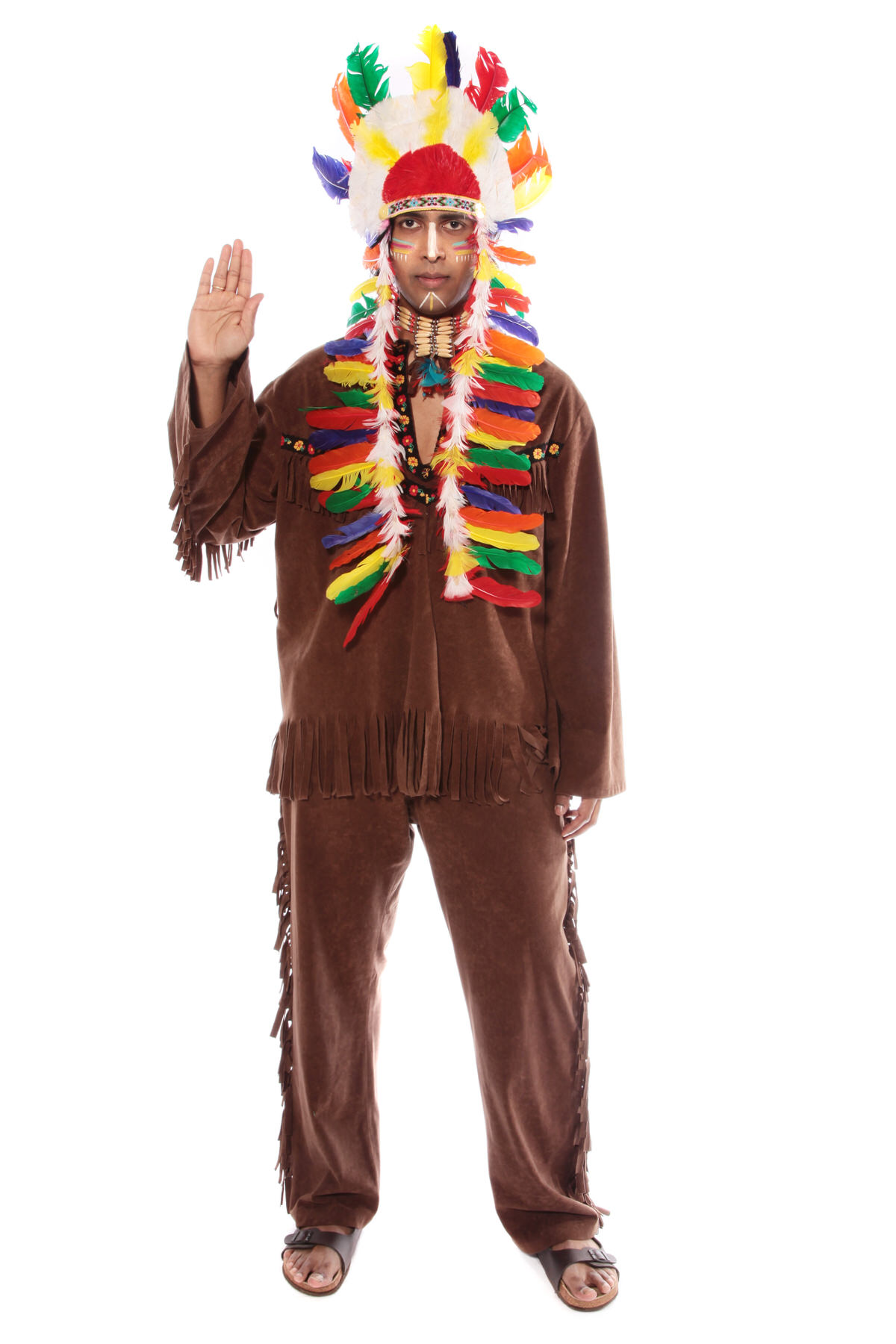 POW WOW CHIEF COSTUME W AUTHENTIC HEAD DRESS