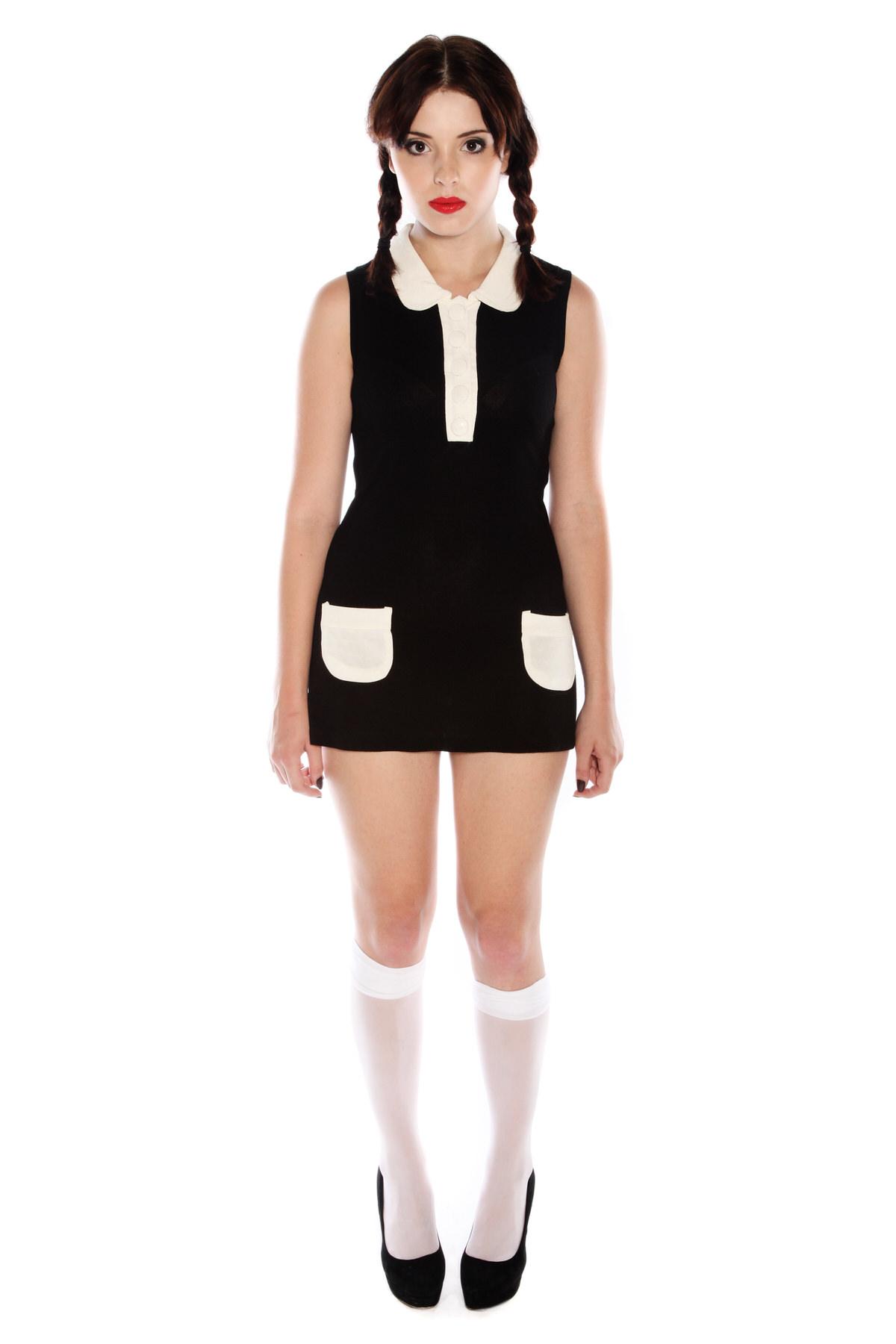 WEDNESDAY ADDAMS BLACK AND WHITE DRESS COSTUME