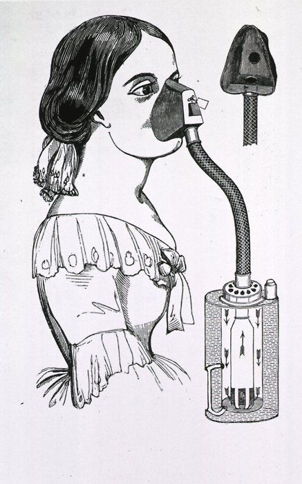 Woman with Chloroform inhaler, 1858