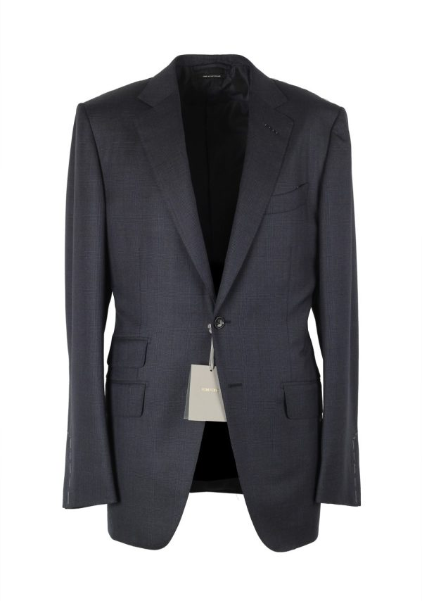 Tom Ford 'connor Checked Navy Suit Size 48l 38l U. Wool Fit Costume Limit