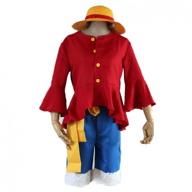 One piece luffy costume straw hat boater beach hat for kids size anime cosplay. One Piece Monkey D Luffy Complete Costume Cosplay Costume Party World