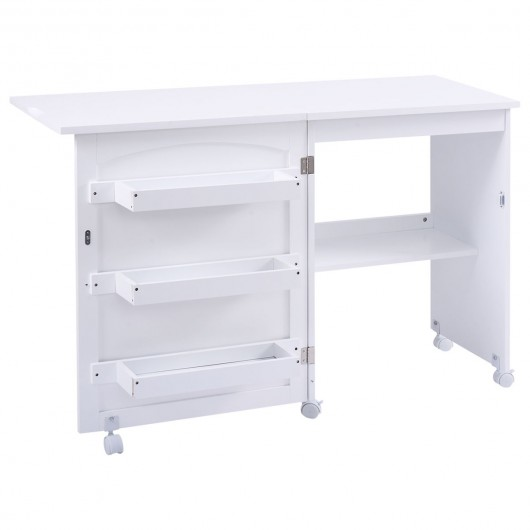 White Folding Swing Craft Table Storage Shelves Cabinet Sewing Machine Extension Tables Art Crafting Tool Accessories Arts Crafts Hobbies Creative Arts Arts Entertainment