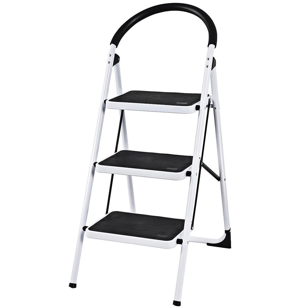 3 Step Ladder Folding Step Stool Platform Home Kitchen Tool Multiuse Stepladder W Sturdy Fre Rubber Hand Grip Anti Slip Pedal Lightweight Portable Ladder 330lbs Capacity