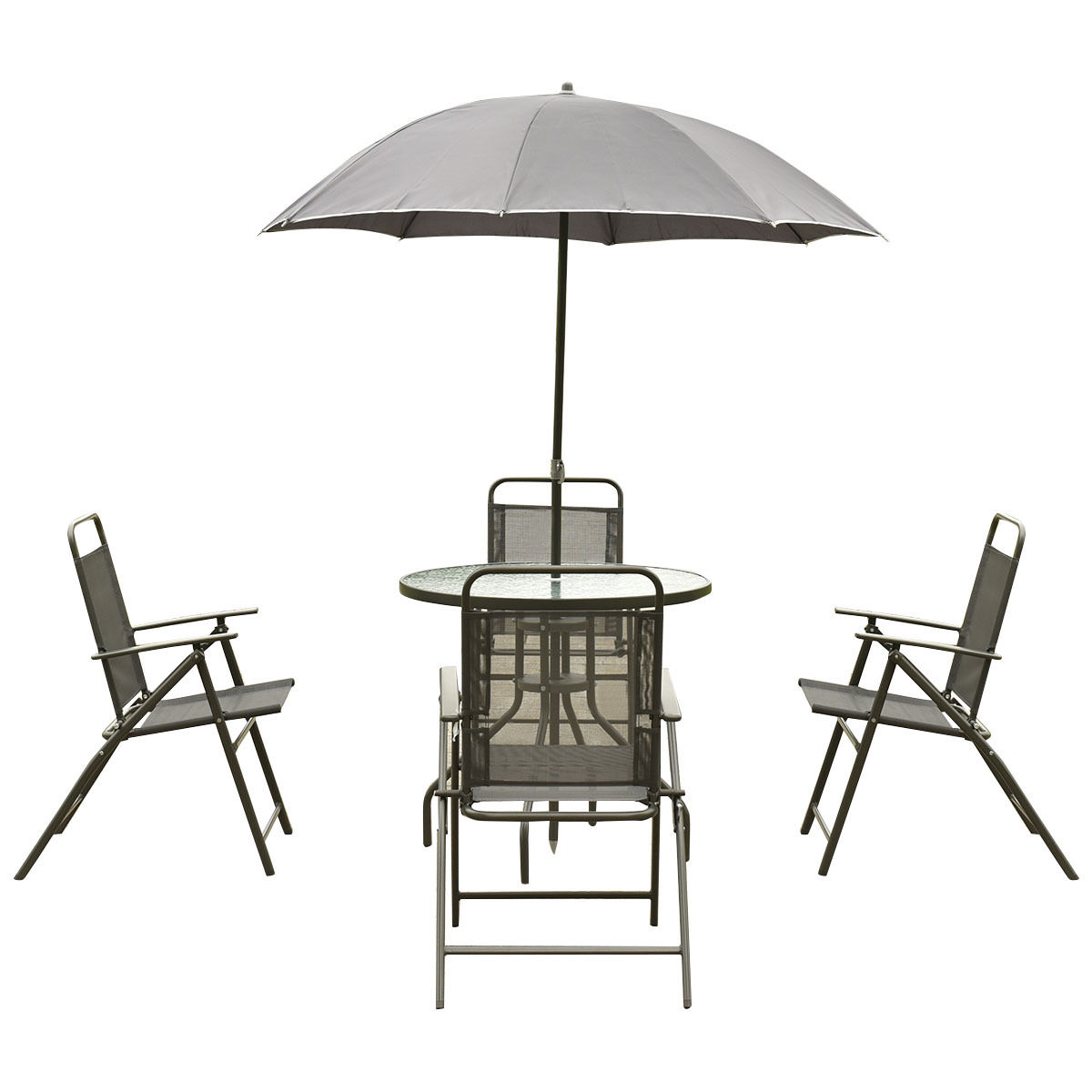 folding chair with umbrella midmark dental chairs 6 pcs outdoor patio round table and furniture sets