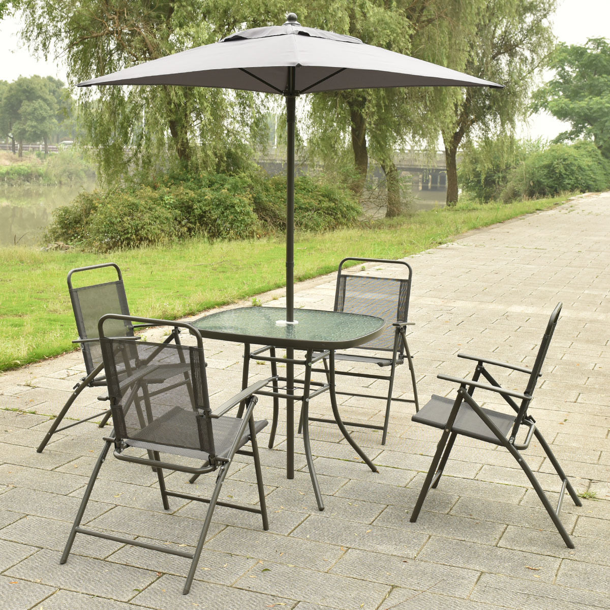 patio folding chair cover rentals windsor ontario 6 pcs furniture set with an umbrella outdoor sets
