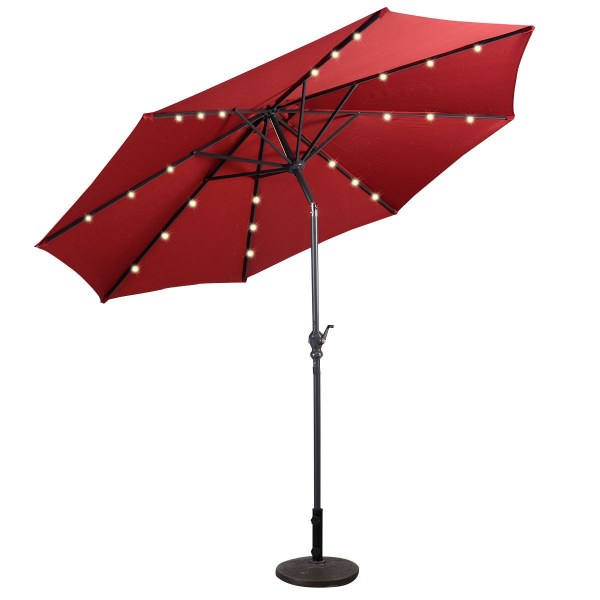 10 Ft Patio Solar Umbrella With Crank And Led Lights - Outdoor Umbrellas & Sunshades