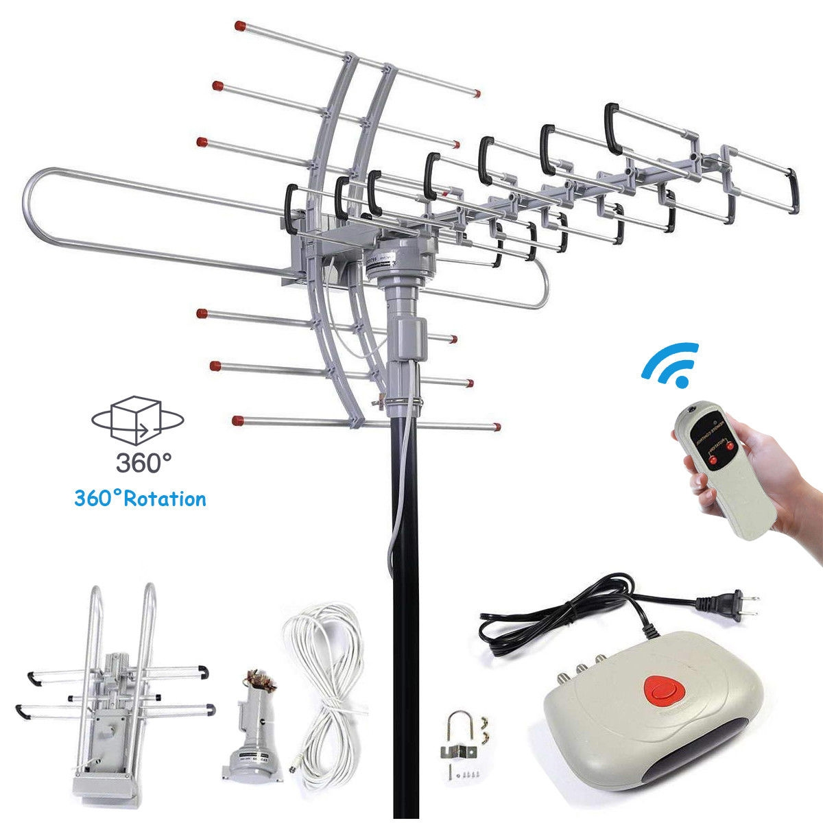 hight resolution of hdtv 1080p outdoor digital 150 mile 360 rotor amplified antenna antennas electronics accessories electronics