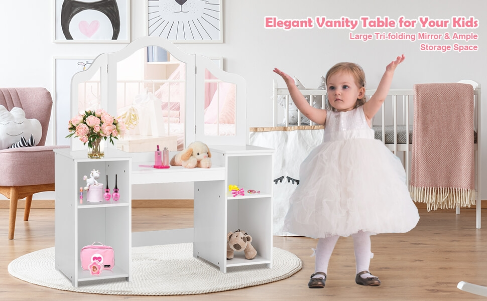 2 in 1 detachable design kids vanity dressing table