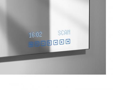 Miroir multimdia affichage digital tuner radio intgr