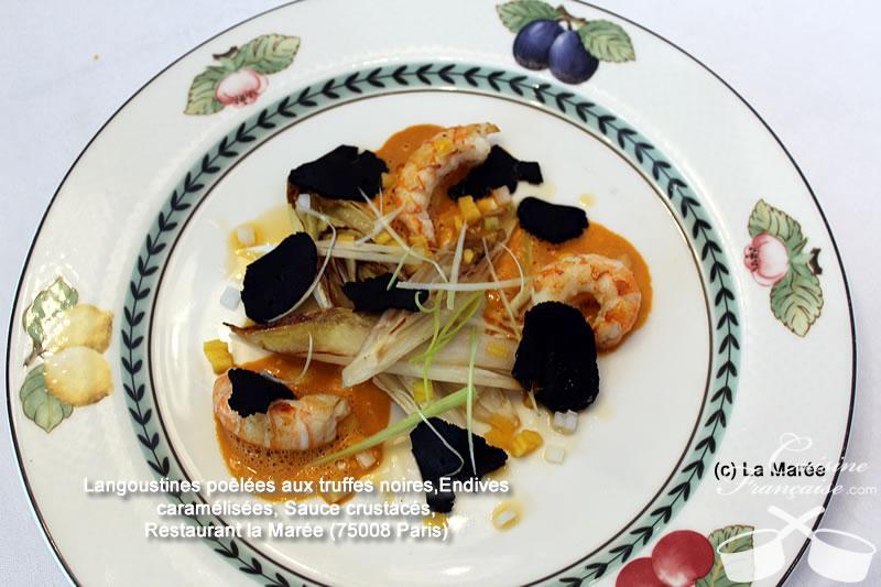 Langoustines poêlées aux truffes noires, Endives caramélisées, Sauce crustacés