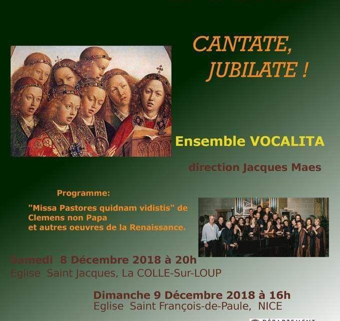 """Concert Vocal Musique Renaissance """"Cantate, Jubilate"""" à La Colle-sur-Loup"""