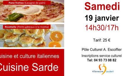 Cours de cuisine sarde à Villeneuve-Loubet