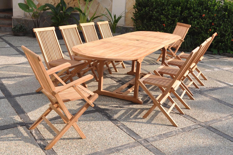 garang 12 14 ensemble de jardin teck table ovale 8 chaises et 2 fauteuils