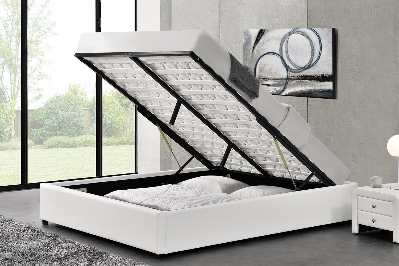 lit oakley structure de lit blanc avec coffre de rangement integre 140x190 cm