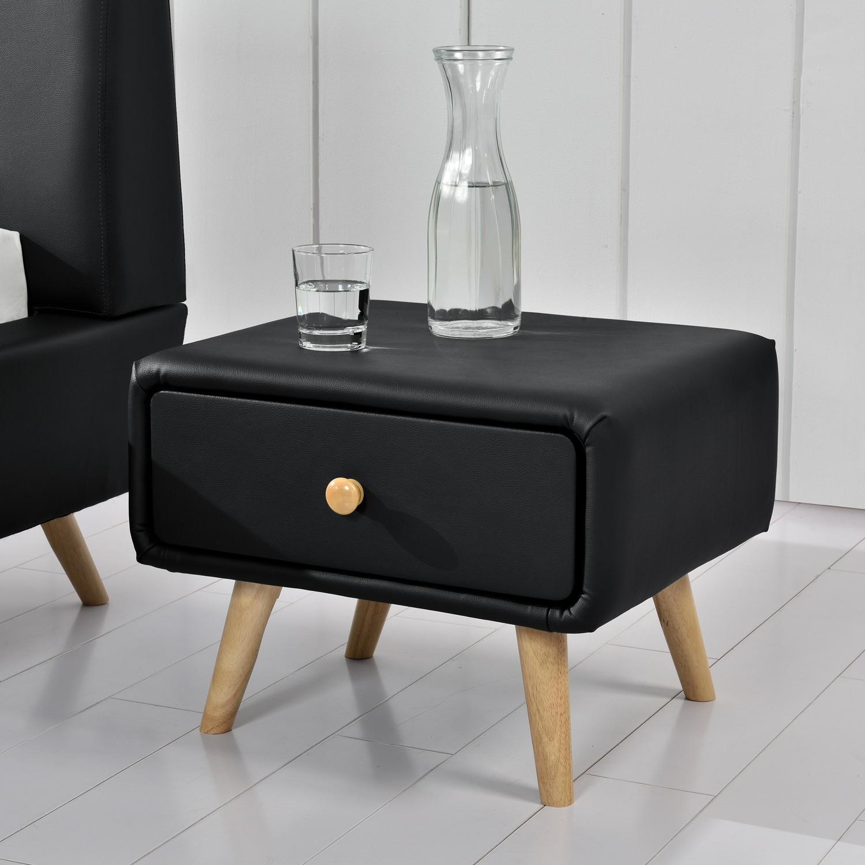 miko noir table de chevet scandinave noir avec 1 tiroir et 4 pieds en bois