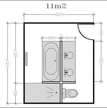 Plan de salle de bains de 5  11 m  conseils darchitecte et plans gratuits  Ct Maison
