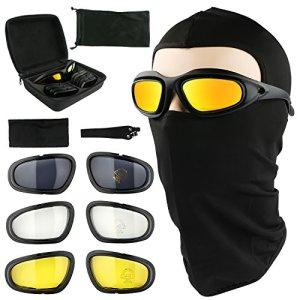 Tongshop polarisées pour moto d'équitation Lunettes UV400Vélo Lunettes de sécurité protection des yeux Cadre noir avec 4paires de lentilles sont livrés avec une Cagoule tactique Masque Sports de plein air Moto Lunettes de soleil