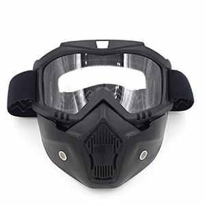 Gzq Lunettes de moto avec masque détachable UV400Lunettes de casque de sécurité coupe-vent à la poussière Motocross Moto Masque pour la neige, ski, vélo, escalade, équitation et sports de plein air, claire