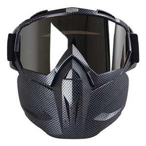 Kobwa Masque de moto avec lunettes, anti-brouillard, coupe-vent, casque à visage ouvert pour motocross, ski, équitation, sports de plein air, Carbon Fiber
