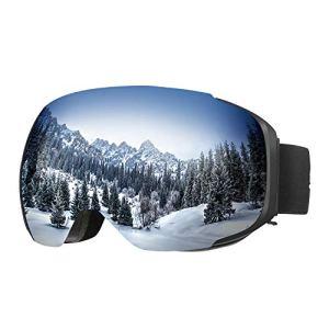 ENKEEO – Lunettes de Ski, Snowboard (détachable lentille antibrouillard Double Couche, Protection 100% UV400, Cadre Pliable, Sangle antidérapante, Mousse Anti-dérapante à 3 Couches) (Argent Nouvelle Generation)