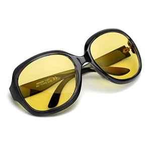 Myiaur Classique Mode Lunette Jaune Conduite de Nuit Anti Eblouissement Polarisantes pour Femme – Protection 100% UVA UVB (noir-1, Jaune)