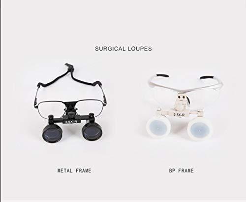 JianKang Double Loupe Eye Surgery 2,5 Fois Galileo Dental Otolaryngology loupe de Chirurgie,Blanc