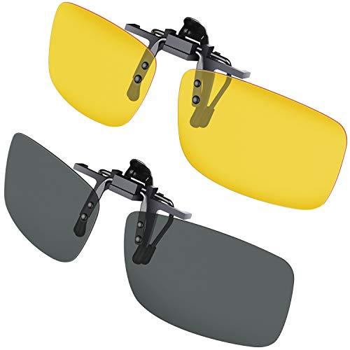 Clip Solaire, Gritin Polarized lunettes de soleil [Lot de 2/Vision Nocturne + Vision du Jour] Clip sur lunettes de soleil pour Hommes / Femmes pour la Conduite et les Activités de plein air