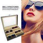 Dioche Boîte de rangement pour lunettes de soleil 8 paires en cuir PU idéal pour femmes et hommes 33,5 x 24,5 x 8,5 cm