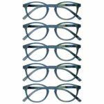Opulize Zen Pack 5 Lunettes De Lecture Brillante Turquoise Bleu Petit Hommes Femmes RRRRR24-Q +3,50