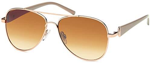 styleBREAKER Élégantes lunettes pilote pour femme à verres teintés, lunettes de soleil style aviateur avec branches vernies et strass 09020053, couleur:Monture dorée-marron/verre dégradé marron