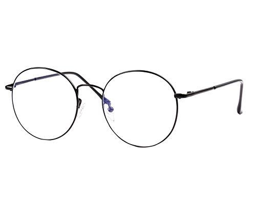 ROSA&ROSE Blocage de la lumière bleue Anti-radiations UV Protection Lumière bleue Filtre Ordinateur Des lunettes Claire Rond Lentilles Hommes Femmes (Noir)