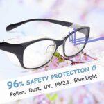 ANSI Z87.1-2020 Lunettes de sécurité anti-buée avec verres transparents bloquant la lumière bleue UV410 Protection anti-poussière et coupe-vent – Noir –