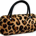 FCN24 GmbH B018 Étui à lunettes rigide pour femme en fourrure Marron/noir/doré avec anse comme un sac à main Motif gros pois