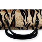 FCN24 GmbH B019 Étui à lunettes rigide pour femme en fourrure Marron clair/noir avec anse comme sac à main à rayures