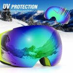 Odoland Kit de Lunettes de Ski avec Lentille détachable, Masque de Snowboard Hommes et Femmes, Anti-UV400, Anti-Buée, Coupe-Vent, Lunettes de Protection Détachable Sphérique