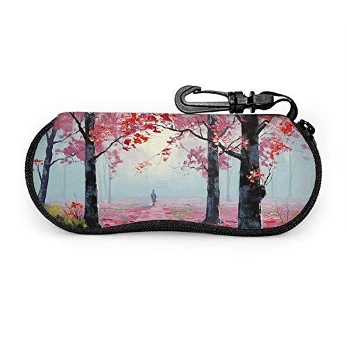 AOOEDM Étui à lunettes souple avec arbres colorés pour femmes et hommes