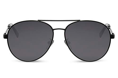 Cheapass Lunettes de soleil Sunglasses Style Pilote Monture Noire Mate en Métal avec Verres Foncés et Branches Spéciales Protection UV400 Hommes Femmes