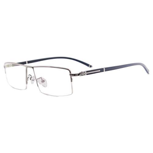 KSFBHC Hommes rectangulaires de Demi-Jante métallique Grandes Lunettes de Vue pour lentilles (Frame Color : Silver)