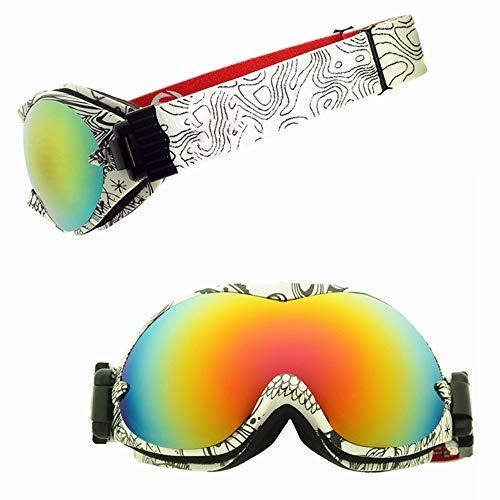 SWNN Puzzles Noir et Blanc Motif TPU Cadre Double antibuée Lunettes de Ski Sports d'hiver Cocker Myopie Équipement Cadeaux d'escalade en Plein air for Les Femmes Hommes
