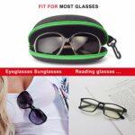 Étui à lunettes AkoaDa, (lot de 2) Étui à lunettes Étui rigide Femmes Hommes Boîte de protection portable avec crochet à glissière – Vert