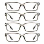 4 paires de lunettes de lecture, lunettes de blocage de lumière bleue, lunettes de lecture d'ordinateur pour femmes et hommes, monture de lunettes de mode rectangulaire (4 Gris, 4.00)