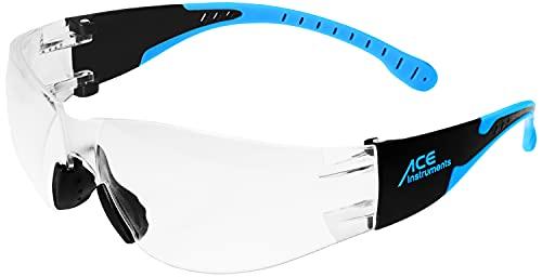 ACE Lunettes de sécurité 5 Theja – à la mode, légères et confortables – pour la construction, l'artisanat et l'industrie – EN 166 – transparent/noir-bleu