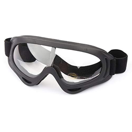 QWERTYU Masque de ski de protection pour le sport, le snowboard, le skate, le ski, le vent, la poussière et les UV., Black Clear,