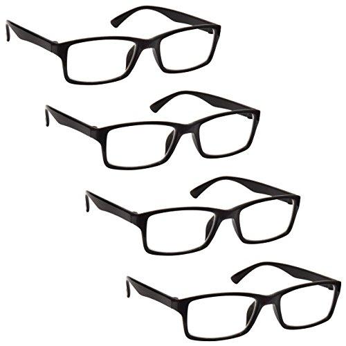 The Reading Glasses Lunettes de Lecture Noir Lecteurs Valeur Set de 4 Designer Style Hommes Femmes RRRR92-1 +3,00