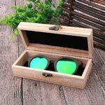 Pevfeciy Boîte de Lunettes de Spectacle rétro, étui à Lunettes de Soleil pour Hommes et Femmes, à la Main,Natural
