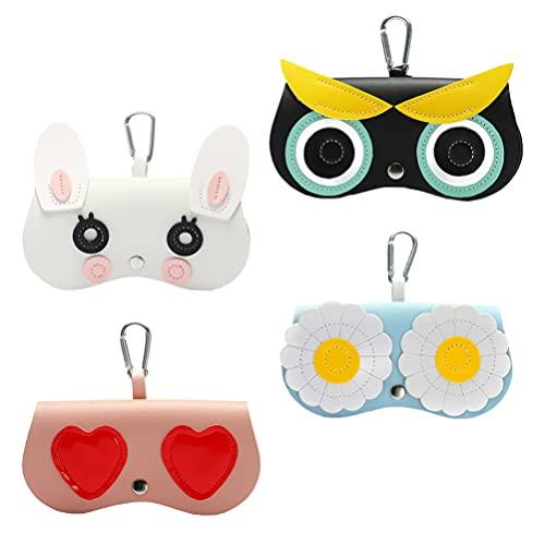 DOITOOL Lot de 4 sacs à lunettes avec crochet pour femme et fille