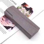 Étui à lunettes de lecture en métal plaqué avec support rigide en grain de bois Boîte à lunettes anti-rayures en cuir PU pour hommes et femmes