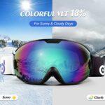 Odoland Lunettes de Ski Masque de Snowboard pour Enfants-Anti-UV400, Anti-Buée, Coupe-Vent, Lunettes de Protection avec Grande Lentille OTG Sphérique étanche