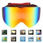 WENHANGshidai Lunettes d'extérieur à Double lentille Lunettes de Ski pour Adultes Unisexe Masque LunettesMagnitic Large View Ski Cyling Goggles(Rouge)